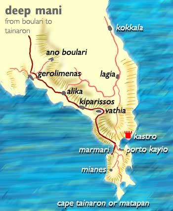 Mani Map Of Deep Mani Ano Boulari To Tainaron